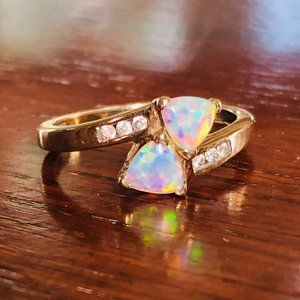 10k Gold Diamond Opal Trillion Cut Bypass Ring